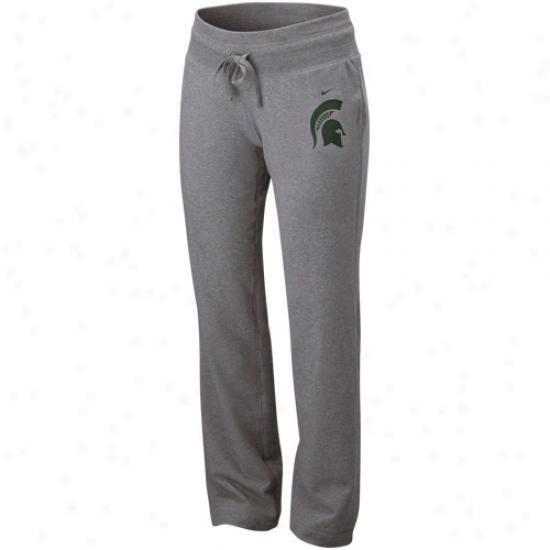 Nike Michigan State Spartans Ladies Ash Glitter Loungin' Stretch Sweatpants