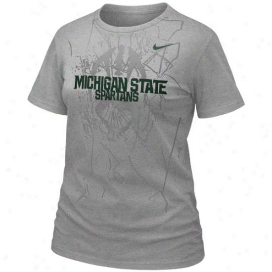 Nike Michigan State Spartans Ladies Football Practice T-shirt - Ash