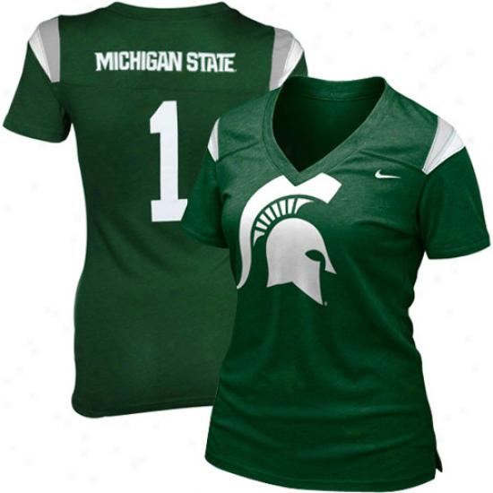 Nike Michigan State Spartans Ladies Green Football Replica Premium Heathered T-shirt