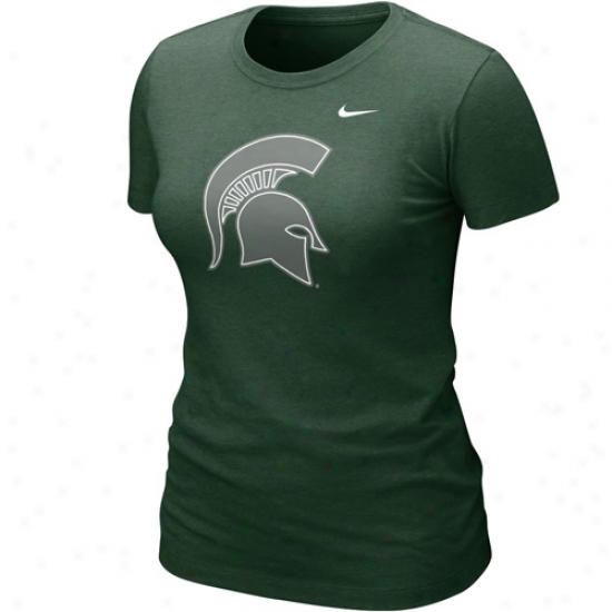 Nike Michigan State Spartans Ladies Nice Logo Tri-blend T-shirt - Green