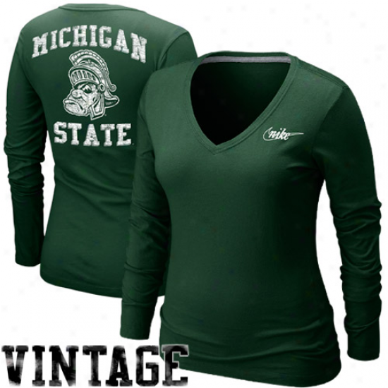 Nike Michigan State Spartans Ladies Vault V-neck Long Sleeve T-shirt - Green