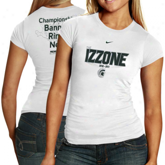 Nike Michigan State Spartans Ladies White 2010-11 Izzone Close examiner Body T-shirt