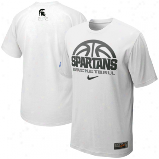 Nike Michigan State Spartans Titanium Elite Basketball Practie T-shitr - White