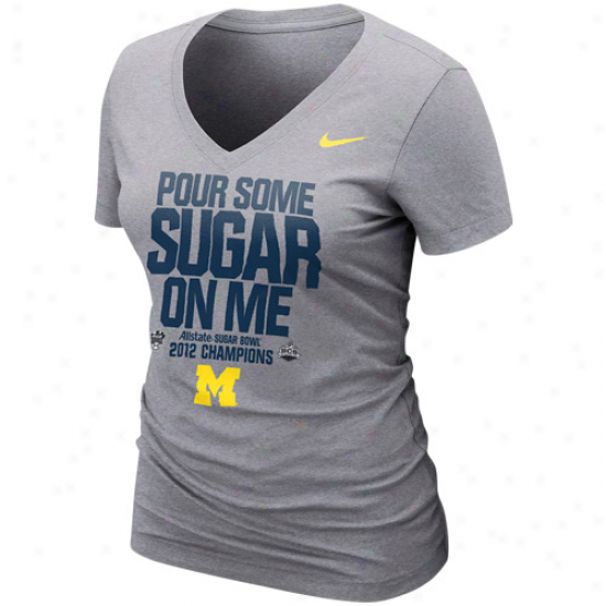 Nike Michigan Wolverines Ladies 2012 Sugar Bowl Champions Locker Room T-shirt - Ash