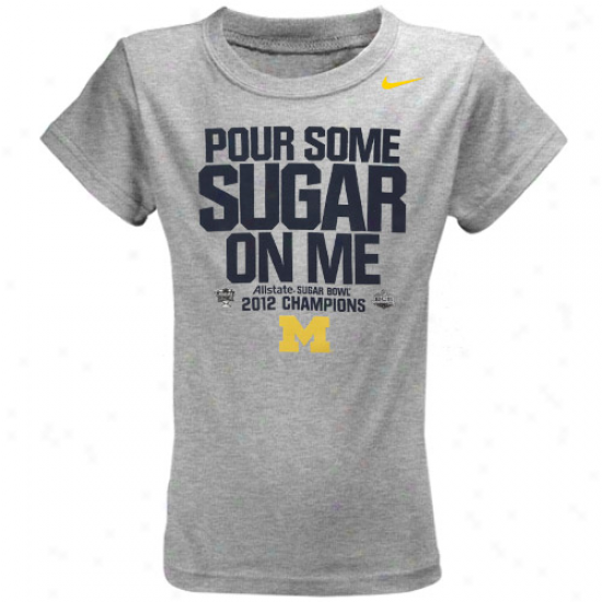 Nike Michigan Wolverines Youth Girls 2012 Sugar Bowl Champions Locker Room T-shirt - Ash