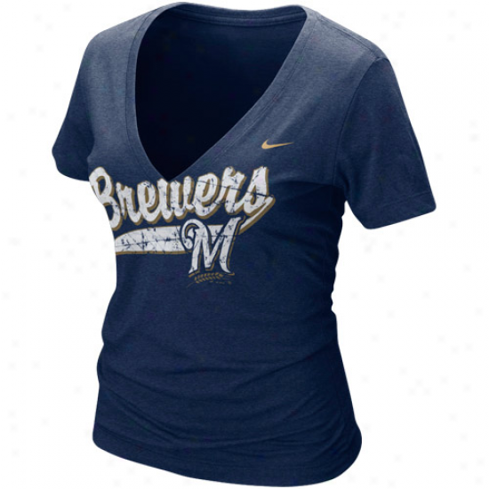 Nike Milwaukee Brewers Ladies Navy Azure Relay V-neck Tri-blend T-shirt