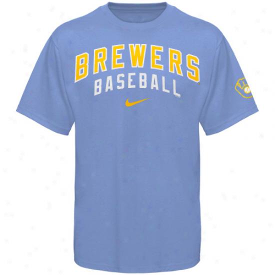 Nike Milwaukee Brewers Practice Tee - Light Blue