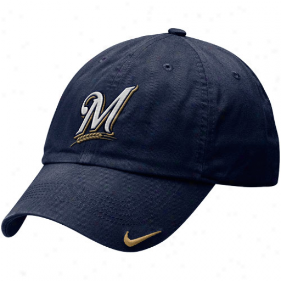Nike Milwaukee Brewers Relaxed Stadium Adjustable Hat - Navy Blue