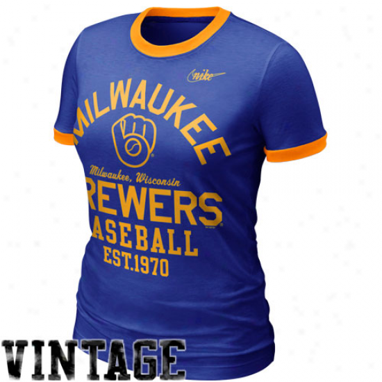 Nike Milwaukee Brewers Women's Cooperstown Ringer T-shirt - Royal Blue