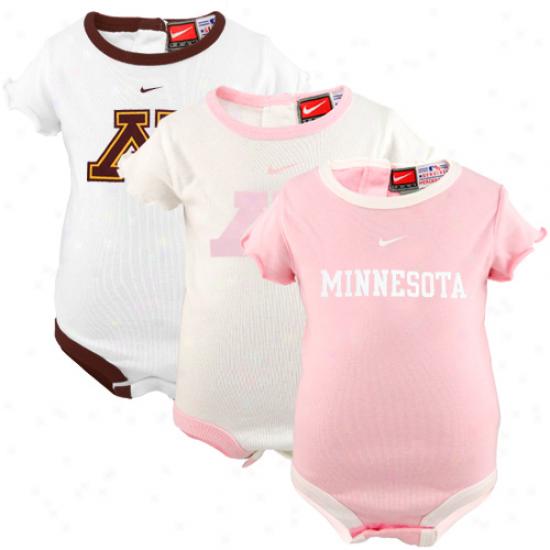 Nkke Minnesota Golden Gophers Infant Girls Pink-white 3-pack Creeper Set