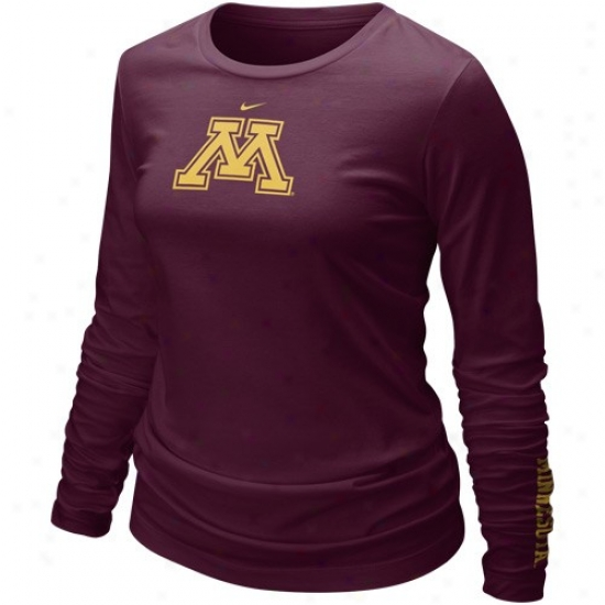 Nike Minnesota Golden Gophers Ladies Mraoon Classic Logo Long Sleeve T-shirt