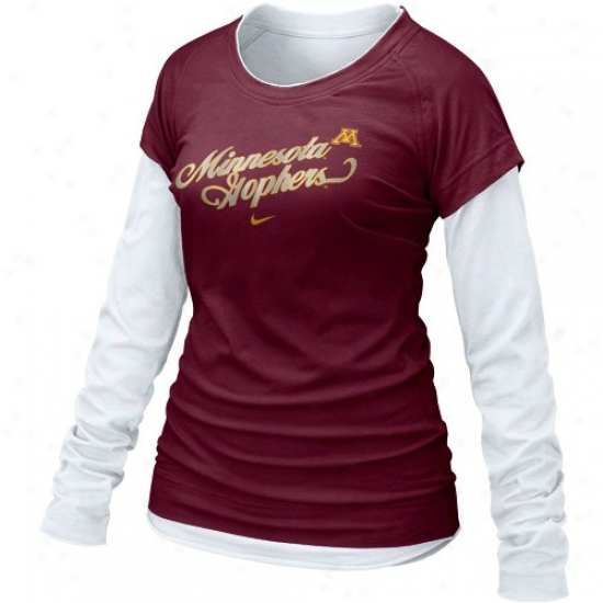 Nike Minnesota Golden Gophers Ladies Maroon Cross Campus Double Layer Long Sleeve T-shirt
