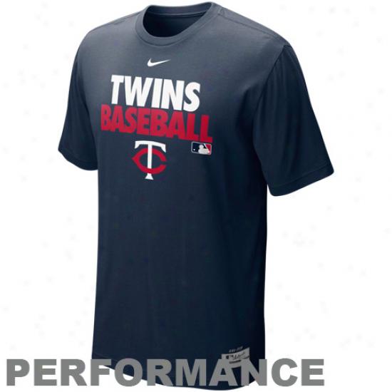 Nike Minnesota Twins Graphic Dri-fit Performance T-shirt - Navy Blue
