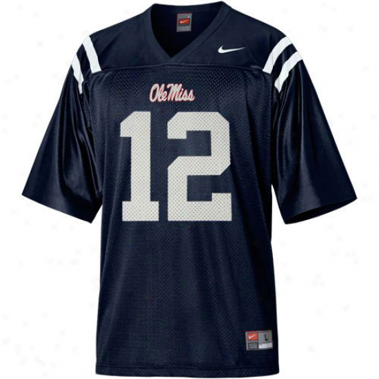 Nike Mississippi Rebels #12 Youth Replica Football Jersey - Navy Blue
