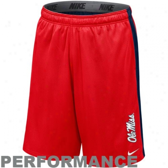 Nike Mississippi Rebels Cardinal-navy Blue Varsity Mesh Performance Shorts