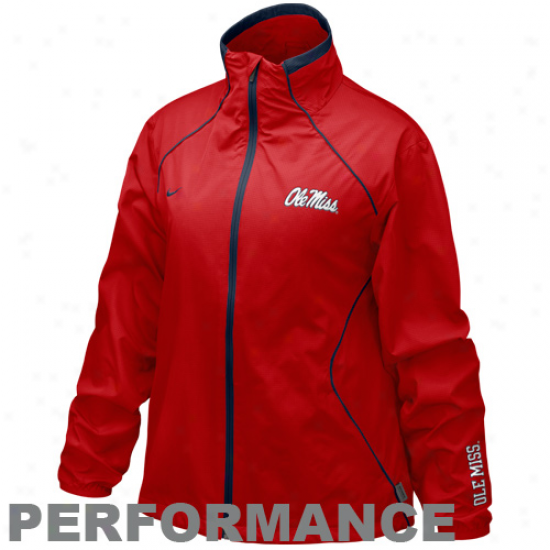 Nike Mississippi Rebels Ladies Cardinal Run Blitz Abounding Zip Performance Jacker