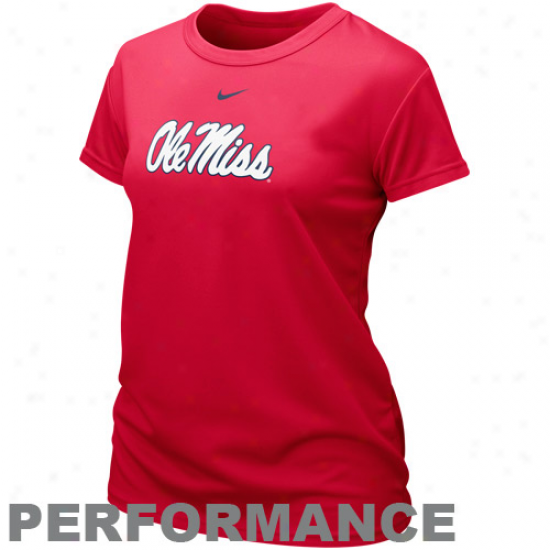 Nike Mississippi Rebels Ladies Team Logi Performance T-shirt - Cardinal
