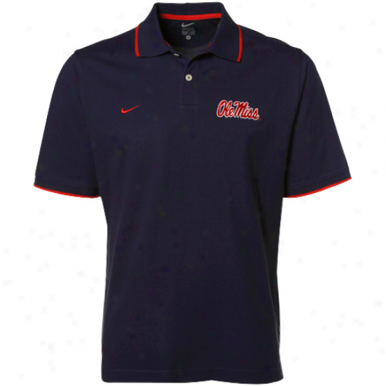 Nike Mississippi Rebels Navy Blue Pique Polo
