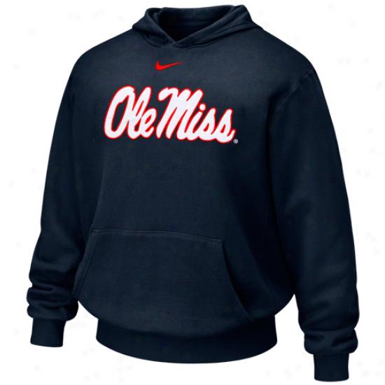 Nike Mississippi Rebels Youyh Navy Azure First-rate Logo Pullover Hoodie Sweatshirt