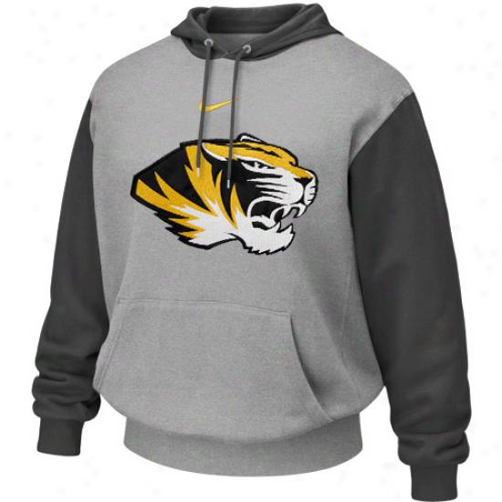 Nike Missouri Tigers Ash-charcoal Seasonal Tackle Twill Logo Hoodie Sweatshirt