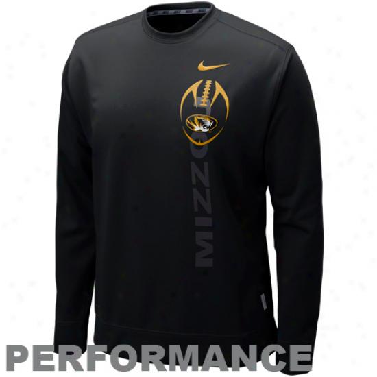 Nike Missouri Tigers Black K.o. Perforamnce Fleece Crew Sweatshirt