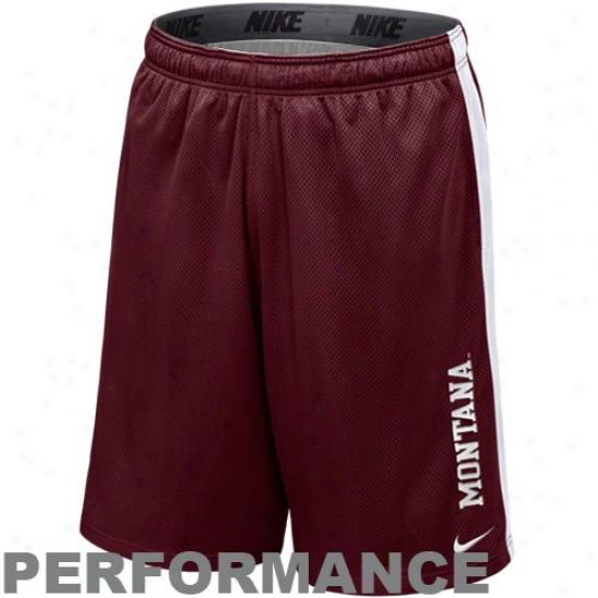 Nike Montana Grizzlies Maroon-white Varsity Mesh Performance Shorts