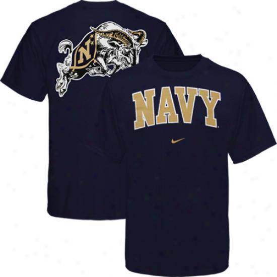 Nike Navy Midshipmen Arch Logo T-shirt - Navy Blue