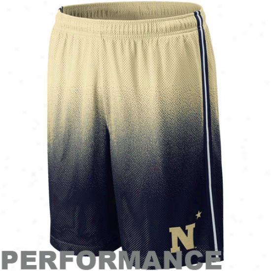 Nike Navy Midshipmen Nav6 Blue-gold Fade Lacrosse Training Performance Shorts