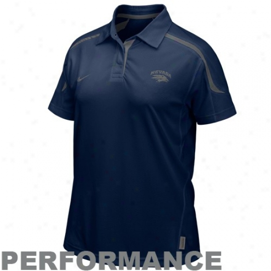 Nike Nevada Wolf Pack Ladies Navy Blue Hook & Lateral Dri-fit Performance Polo