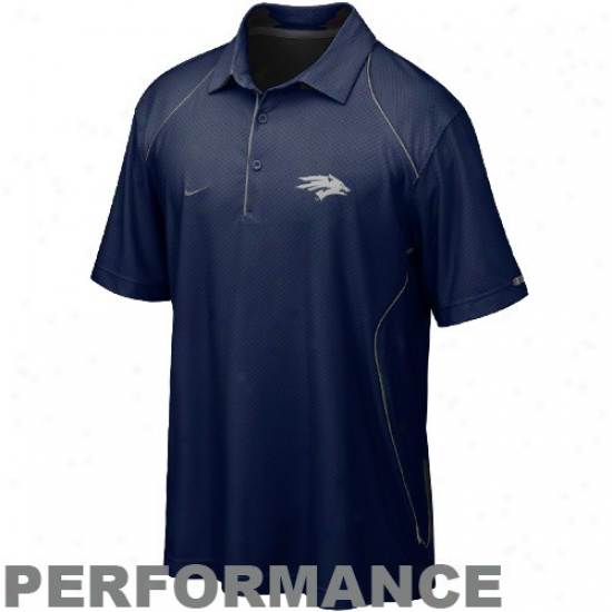 Nike Nevada Wolf Pack Navy Blue Snap Count Performance Polo