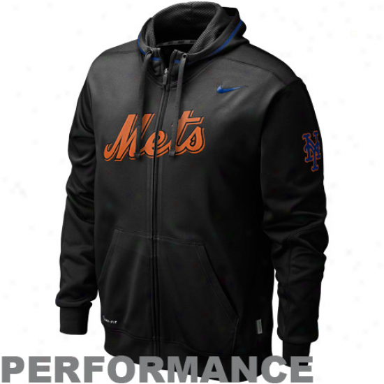 Nike New York Mets Black Ko Performance Full Zip Hoodie Sweatshirt