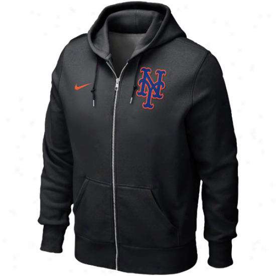 Nike Repaired York Mets Classic Completely Zip Hoodie - Black