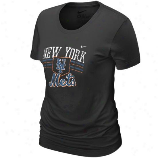 Nike New York Mets Ladies Blaack Home Field Tri-blend T-shirt