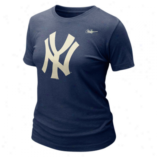 Nike New York Yankees Ladies Blended Graphic Tri-blend T-shirt - Navy Blue