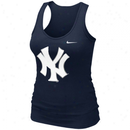 Nike New York Yankees Ladies Logo Shine Cistern Top - Navy Blue