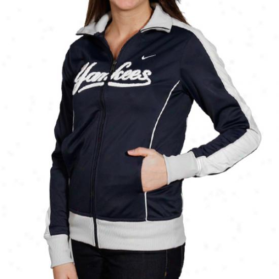 Nike New York Yankees Ladies Navy Blue 3-2 Count Full Zip Track Jacket