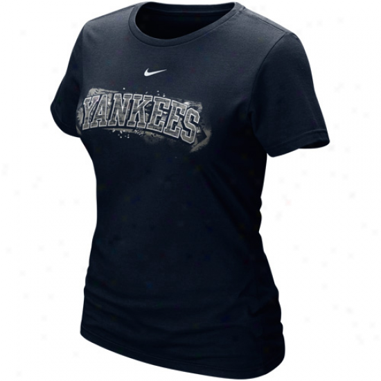 Nike New York Yankees Ladies Navy Blue Seasonal Arch T-shirt