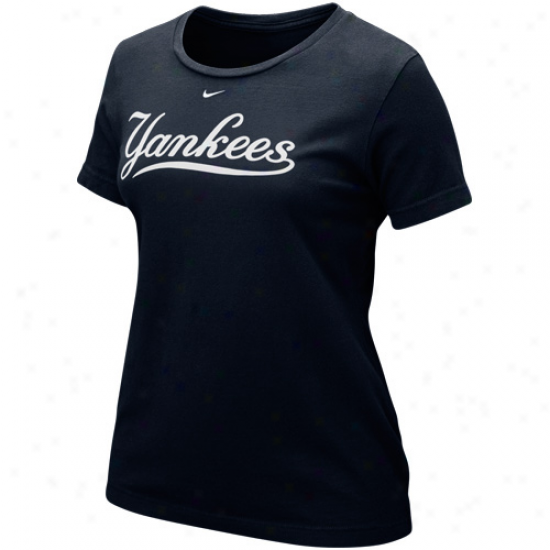 Nike New York Yankees Ladies Wordmark T-shirt - Navy Blue