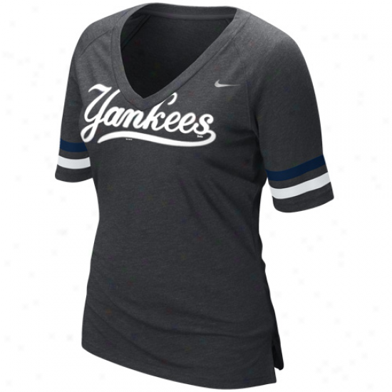 Nike New York Yankees Mlb Fan Premium V-necm T-shirt - Charcoal
