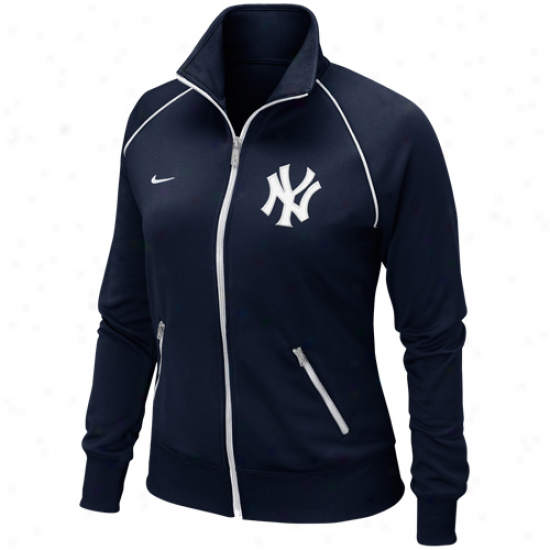 Nike New York Yankees Women's Full Zip Track Jacket - Navy Blue