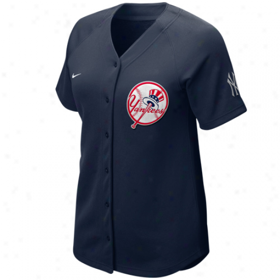 Nike Novel York Yankees Women's Navy Blue Batter Up Full Button Jersey