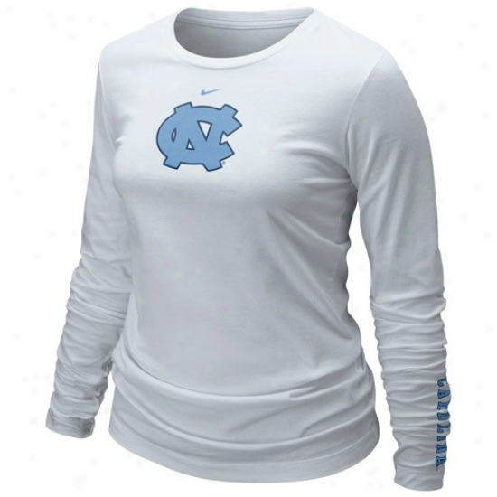 Nike North Carolina Sailor Heels (unc) Ladies White Classic Logo Long Sleeve T-shirt