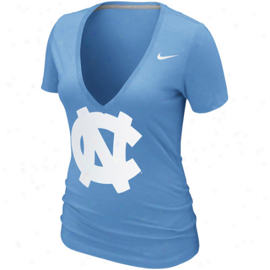 Nike North Carolina Tar Heels (unc) Womens Deep V Burnout T-shirt - Carolina Blue