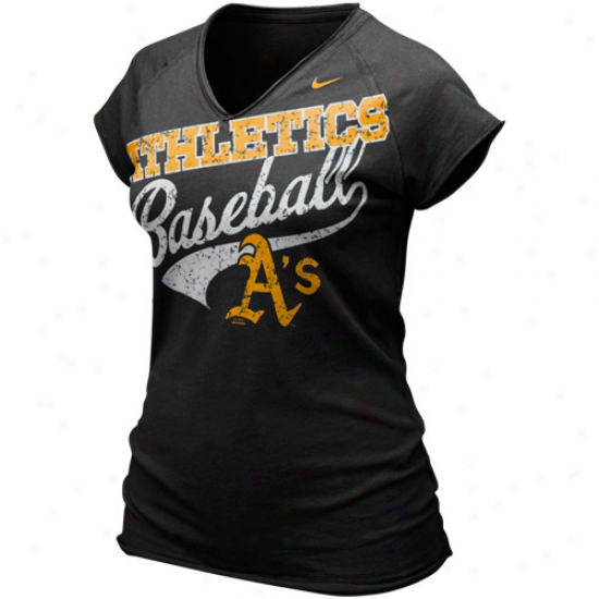 Nike Oakland Athletics Ladied Black Bases Loaded V-neck T-shirt