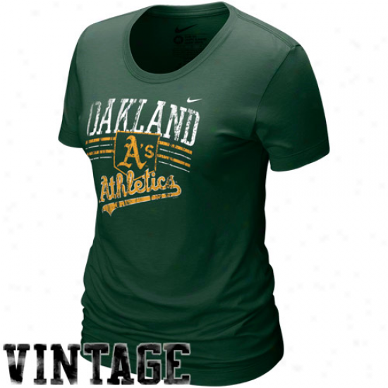 Nike Oakland Athletics Ladies Green Home Fied Tri-blend T-shirt