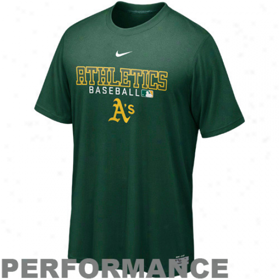 Nike Oakland Athletics Mlb Authentic Collection Team Issue Legend Performance T-shirt - Green