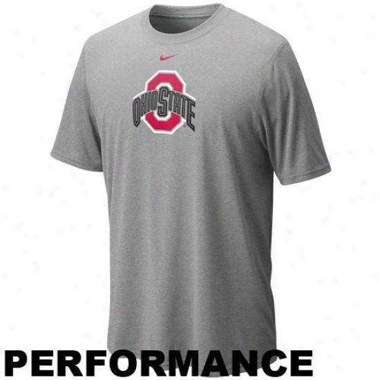 Nike Ohio State Buckeyes Ash Legend Logo Performance T-shirt