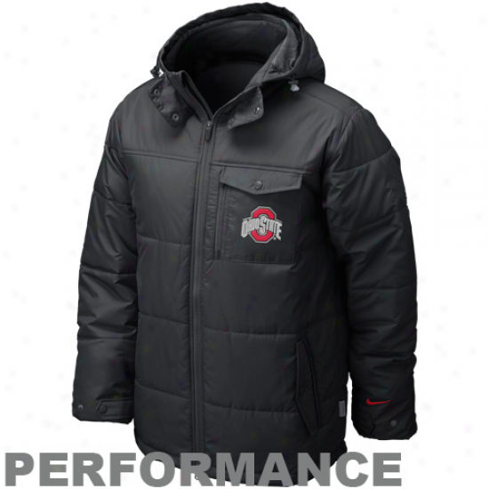 Nije Ohio State Buckeyes Black Conference Baffle Full Zip Performance Hoodie Jacket