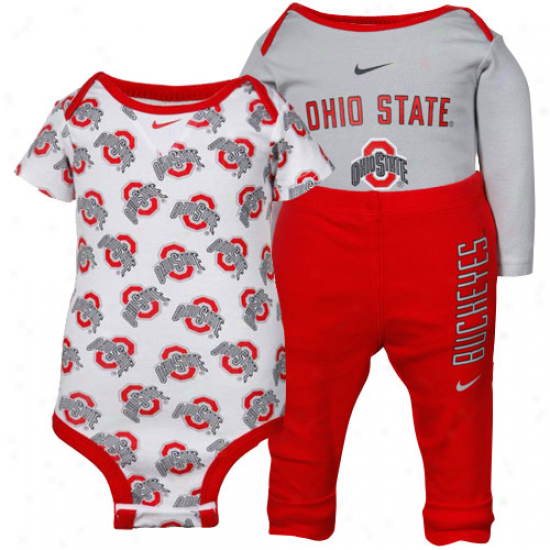 Nike Ohio State Buckeyes Infant Scarlet-grey 3-ppiece Creeper And Pants 3St