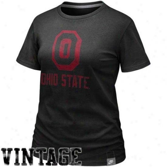 Nike Ohio State Buckeyes Ladies Black Vault Premium Butter Bamboo T-shirt